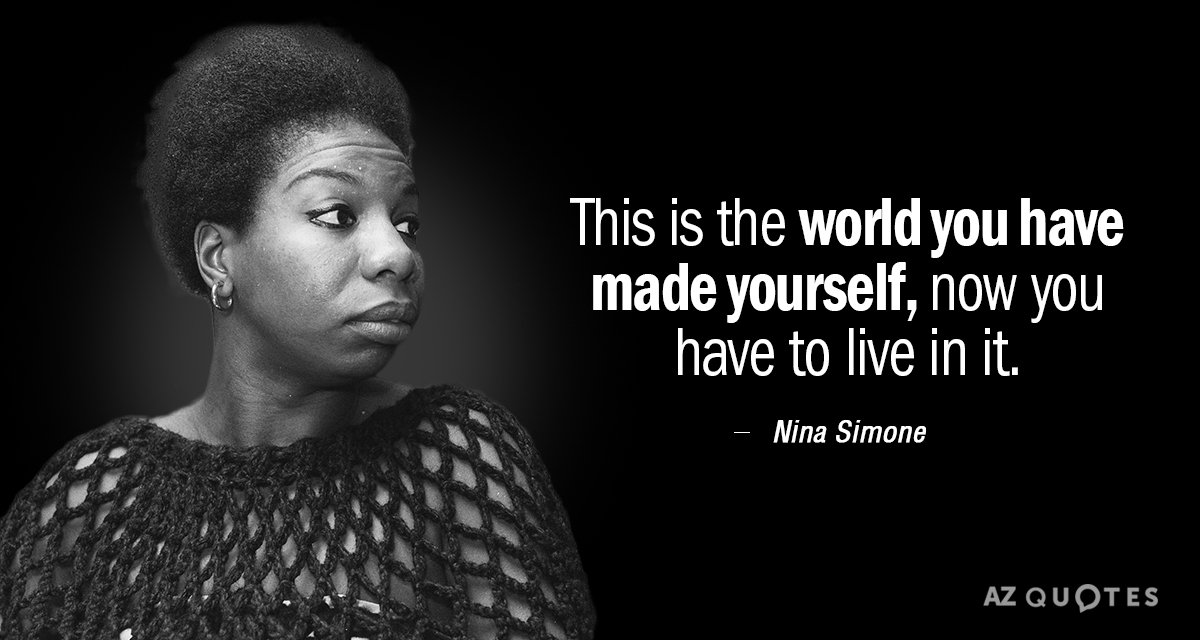 Nina Simone Quotes Nina Simone quote: This is the world you have made yourself, now  Nina Simone Quotes