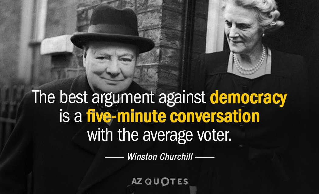 Winston Churchill quote: The best argument against democracy is a five-minute conversation with the average voter.