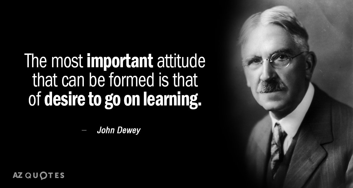 John Dewey Quotes John Dewey quote: The most important attitude that can be formed  John Dewey Quotes
