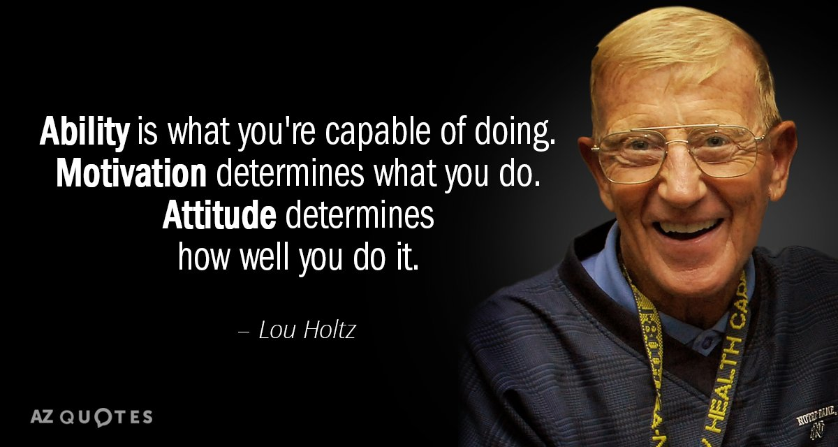 Lou Holtz quote: Ability is what you're capable of doing. Motivation determines what you do. Attitude...