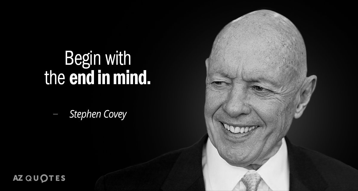 Stephen Covey quote: Begin with the end in mind.