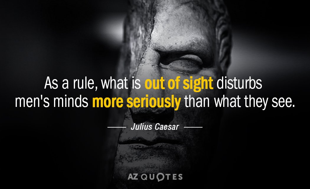 Julius Caesar Quote As A Rule What Is Out Of Sight Disturbs Men's Inspiration Julius Caesar Quotes
