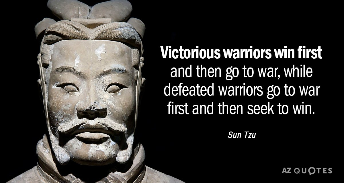 Sun Tzu quote: Victorious warriors win first and then go to war, while defeated warriors go...