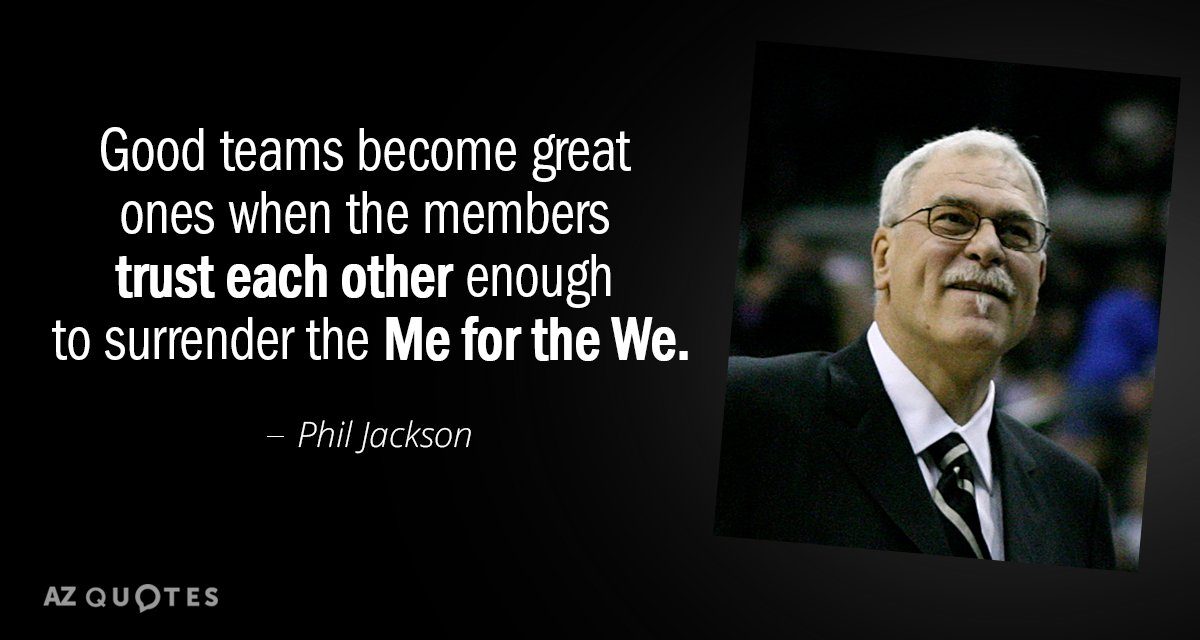 Phil Jackson quote: Good teams become great ones when the members trust each other enough to...