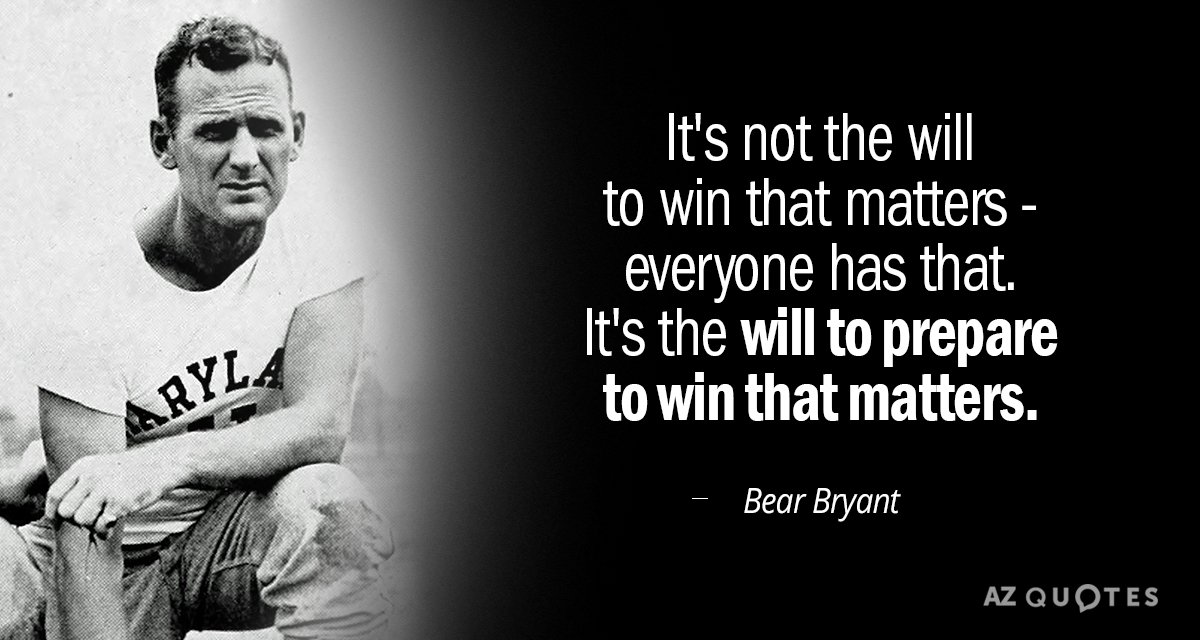 Bear Bryant quote: It's not the will to win that matters-everyone has that. It's the will...