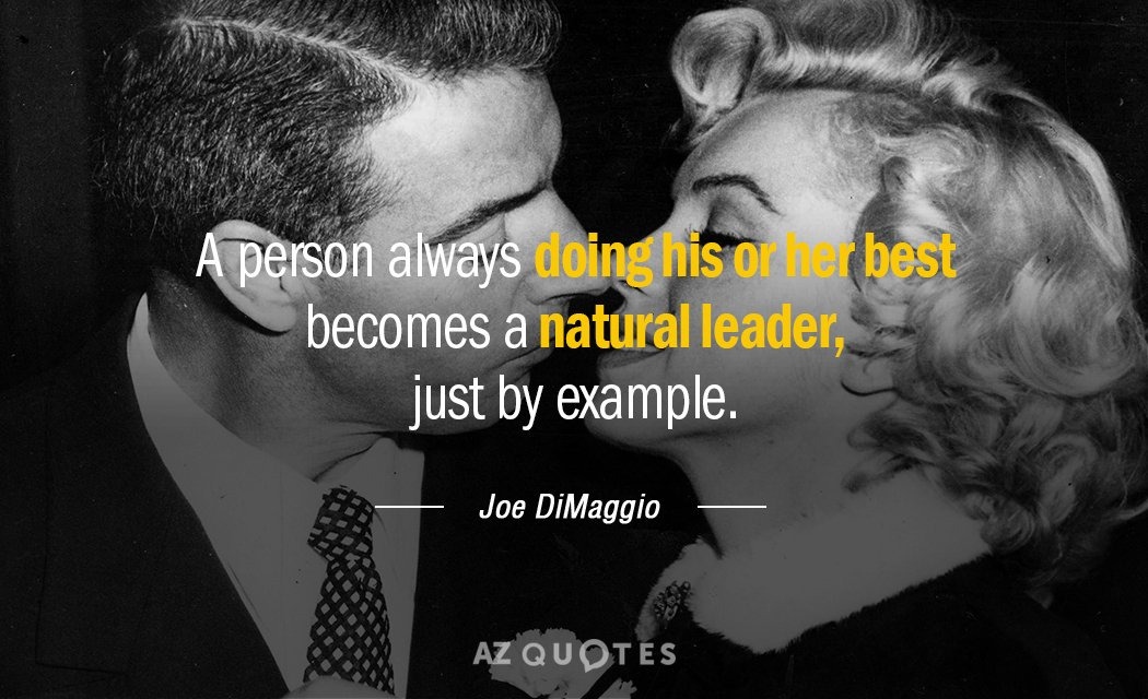 Joe DiMaggio quote: A person always doing his or her best becomes a natural leader, just...