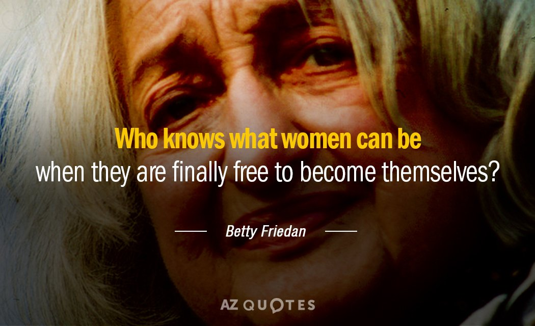 Betty Friedan quote: Who knows what women can be when they are finally free to become...