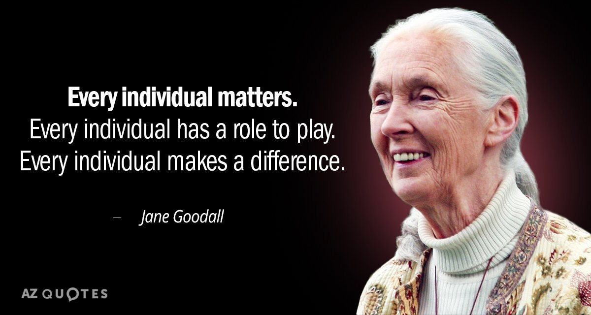 Jane Goodall quote: Every individual matters. Every individual has a role to play. Every individual makes...
