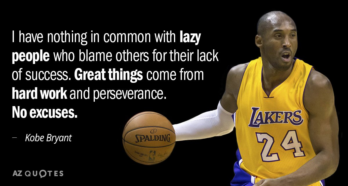 Kobe Bryant Quote I Have Nothing In Common With Lazy People Who