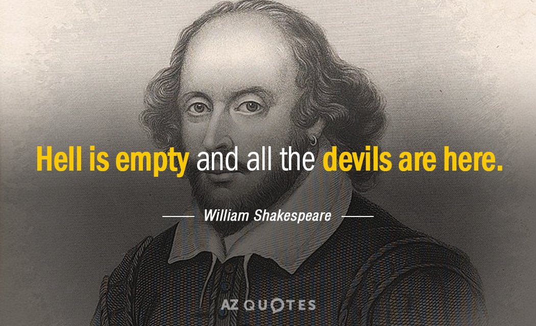 William Shakespeare quote: Hell is empty and all the devils are here.