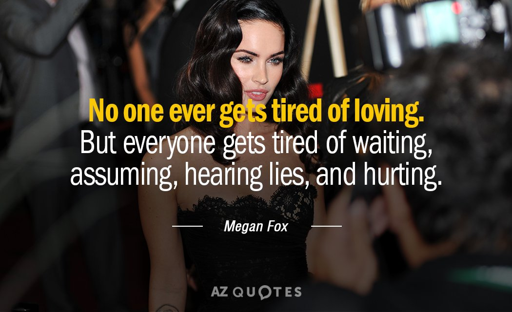 Megan Fox quote: No one ever gets tired of loving. But everyone gets tired of waiting...