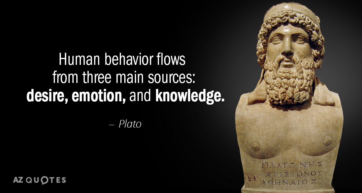 Plato Quotes Plato quote: Human behavior flows from three main sources: desire  Plato Quotes