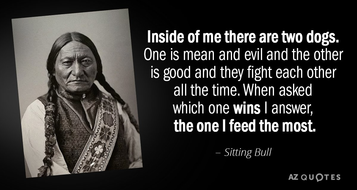 Sitting Bull Quote Inside Of Me There Are Two Dogs One Is Mean