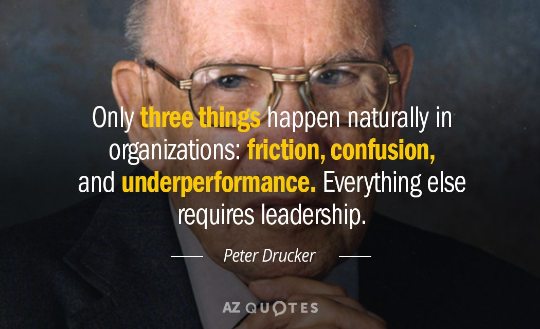 Peter Drucker quote: Only three things happen naturally in organizations: friction, confusion, and underperformance. Everything else...