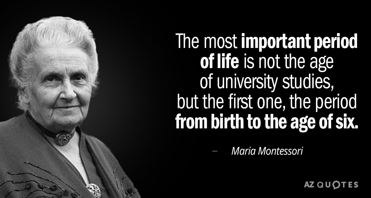Maria Montessori quote: The most important period of life is not the age of university studies...