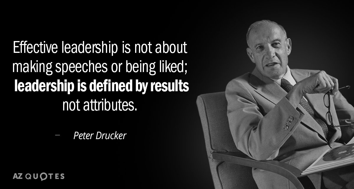 Peter Drucker quote: Effective leadership is not about making speeches or being liked; leadership is defined...