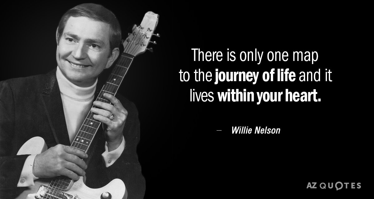 Willie Nelson quote: There is only one map to the journey of life and it lives...