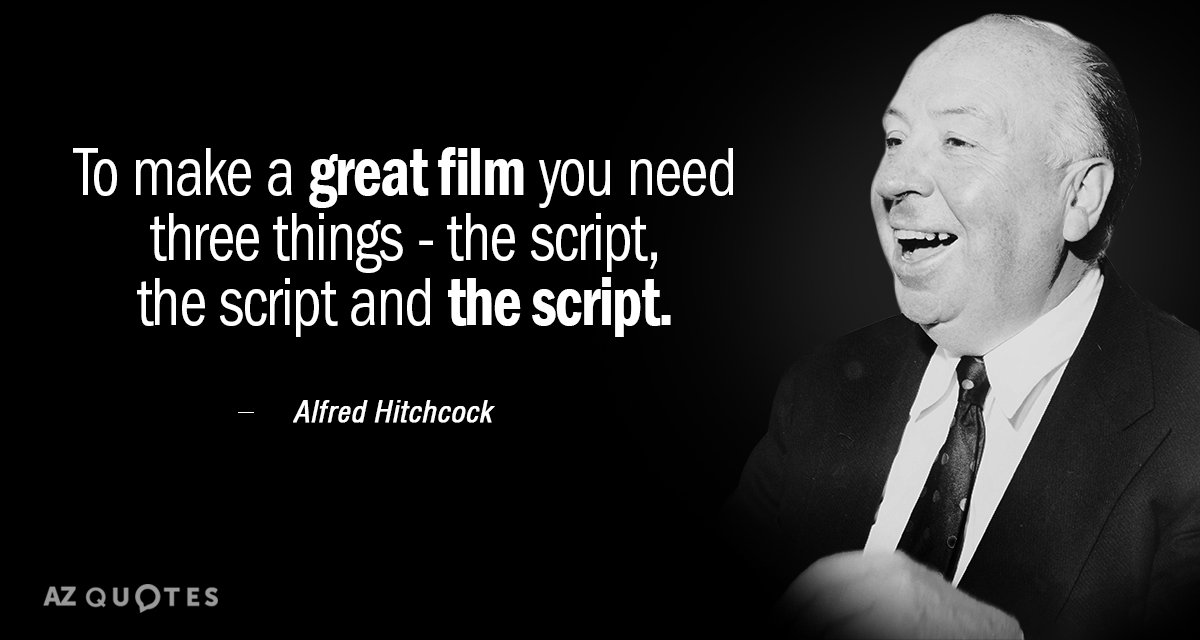 Alfred Hitchcock quote: To make a great film you need three things