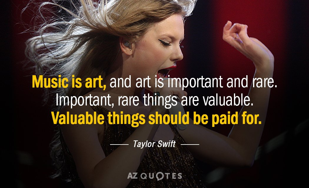 Taylor Swift quote: Music is art, and art is important and rare. Important, rare things are...