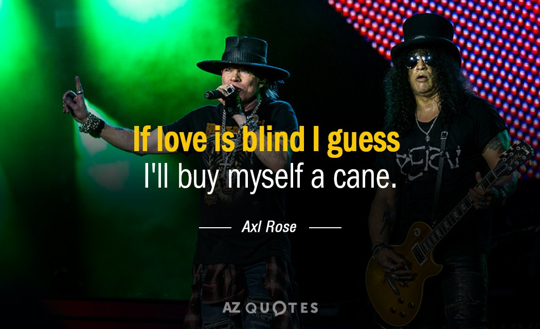 Axl Rose quote: If love is blind I guess I'll buy myself a cane