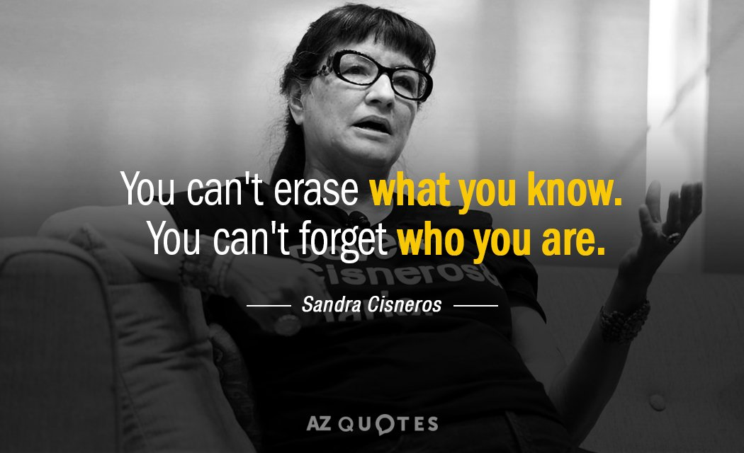 Sandra Cisneros quote: You can't erase what you know. You can't forget who you are.