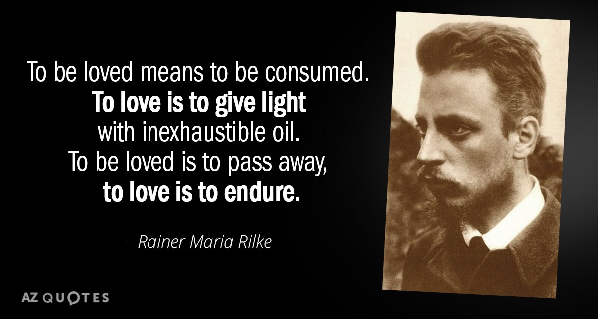 Rainer Maria Rilke quote: To be loved means to be consumed ...